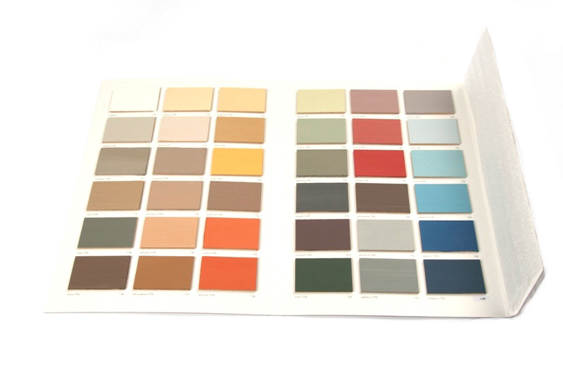 Kalkverf Kleurenkaart handgeschilderd mp100 t/m mp 149